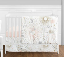 Jojo Bumperless Moon Stars Pink Gold Celestial Baby Girls 4p Crib Bedding Set