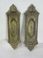 2 Antique Large Brass Fancy Pocket Door Escutcheon Pulls