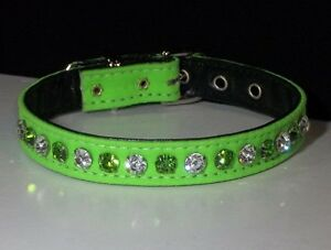 Neon Deluxe color green Jeweled Rhinestone Dog Collar Austrian Crystal Bling!!