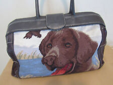 ISABELLA FIORE NEEDLEPOINT (LABRADOR) DOG BROWN LEATHER XL BAG