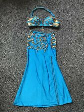 Professionnel égyptien Belly Dance Performance Costume turquoise et or