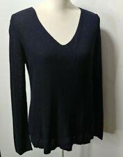 Eileen Fisher M Medium Sweater Cotton Silk Knit Italian Yarn Long Sleeve Blue
