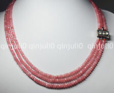 3 Rows 2X4mm FACETED Pink Rhodochrosite BEADS NECKLACE 17-19'' JN1378