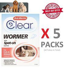 Bob Martin Clear Spot On Wormer Para Gato & Gatito más de 1kg X 5 Packs (10 Tubos)