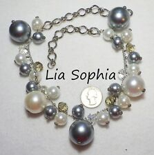 "Necklace, White/Gray Faux Pearls/Crystals, 20"" Signed Lia Sophia Chunky Cha-Cha"