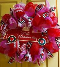 "Deco Mesh & Ribbon Valentine Wreath ""Happy Valentine's Day Red Truck"" Handmade"