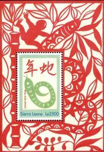 MODERN GEMS - Sierra Leone - Lunar New Year of the Snake - Souvenir Sheet - MNH