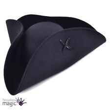 Adulto Negro de hombre Fieltro De Lana Pirata Tricornio Sombrero