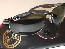 cfbb245a92 RAY BAN RB3254 61 16mm POLARIZED SLEEK GUNMETAL/BLK METAL WRAPs SUNGLASSES  NEW
