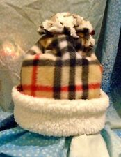 White Sherpa Plaid Burberry Fleece Winter Hat*Beanie*Double Layer*Warm*Large