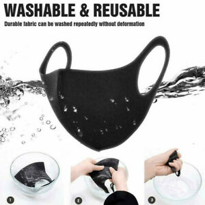 10 PCS Face Mask Protective Mouth Covering Washable Reusable Black Adult Unisex