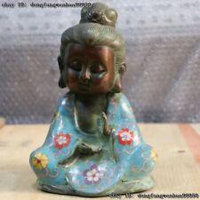 Chinese Buddhism Old Copper Cloisonne Seat Boy Kid Monk Sakyamuni Buddha Statue