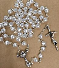 mother of pearl FIRST COMMUNION white heart Rosary made Poland Italian parts 18""