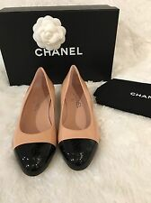 Chanel Crumpled Calfskin With Patent Cap Toe Size 37