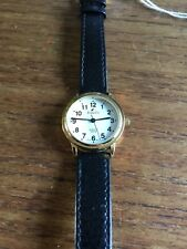 Ladies TIME CO Gold Coloured SS Watch with Black Strap  W477/55