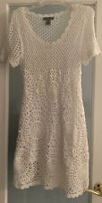 Women's White Knit/Crochet Dress or  Cover Up Lined Dress Size M