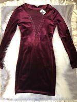NWT Ecote Wine Velour Lace Up Bodycon Dress Size XS Urban Outfitters Bebe BCBG