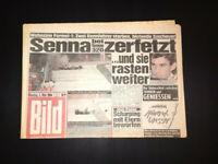 BILD ZEITUNG 2. Mai 1994 FORMEL 1 WELTMEISTER AYRTON SENNA TOD IN IMOLA