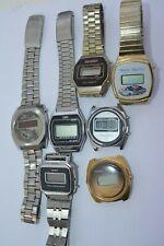 Lot of 7 Vtg Mens LED watches PARTS REPAIR**Bulova*Timex*Compu Chron**Texas Inst