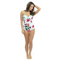 Ladies Flower Print Mint Swimsuit - Uk Sizes 10 - 18
