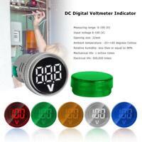 22mm 6-100V DC Digital Display Voltmeter Indicator LED Lamp Round Signal Light