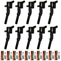 Set of 10 Ignition Coils + 10 Motorcraft Spark Plugs For 1997-2011 Ford Lincoln