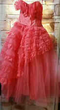 VTG 50s does 80s Salmon Strapless Full Lace Tulle Party Prom Cinema Prop Dress