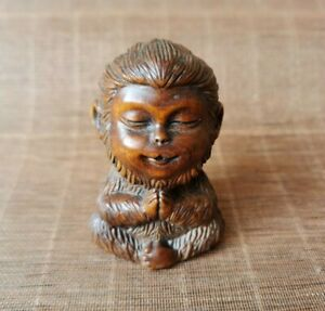 Fengshui Old Boxwood Collect Japanese Netsuke carve Monkey King Statue figurines