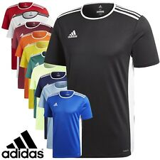 Mens Adidas Entrada 18 Climalite Short Sleeve T Shirt Top Football Size S M L XL