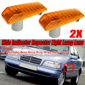 2x Amber Side Light Repeater Indicator Cover for Mercedes S SL Class W202  //*