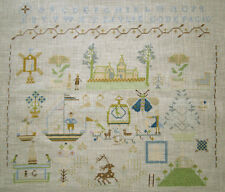COMPLETED DUTCH REPRODUCTION SAMPLER SOFT COLORS ALPHABET TALL SHIP BUTTERFLY