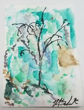 Abstract Tree Aceo Original Mixed Media Art Card Painting Signed Schneider