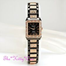 OMAX Ladies Deco Gunmetal Brown, Rose Gold Seiko Epson Movt Crystal Watch JE0444