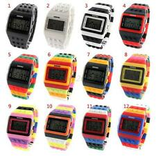 Men Women Multi-Color Block Brick Style Wrist Watch With Led Night Light