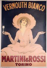 """""""MARTINI VERMOUTH BIANCO"""" Affiche entoilée Typo DUDOVICH  73x102cm"""