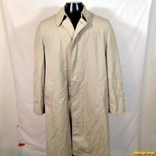 LONDON FOG Vtg USA Maincoats RAINCOAT Rain Trench Coat 40L Long Beige w/ liner