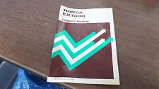 Honda Factory Owners Manual 1986 EX1000 Generator