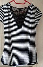 AMISU * schickes Shirt - gestreift mit Spitze *  Gr.38/40