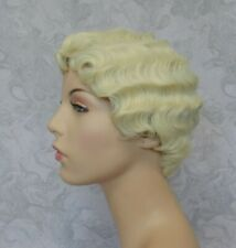 """Short 20""""s Finger Wave Bright Blonde Highlighted Full Synthetic Cosplay Wig -165"""