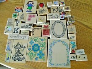 lot of 44 SCRAPBOOK RUBBER WOOD STAMPS MULTI SIZES LARGE TO SMALL MANY SUBJECTS