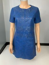 ASOS NEW Blue 100% Leather Dress size 38 Uk 10 Bnwts Metal Studs A Line
