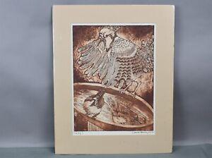 Carol M Hershey Sepia Toned Art Print Litho Jay! Bird Bath Zinc Plate Etching