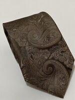 "CANALI BROWN TIE 100% SILK PAISLEY 60""/3.5"" GOOD CONDITION"