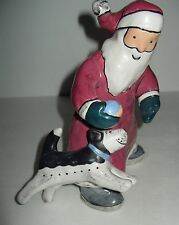 Vintage Midwest of Cannon Falls Santa teaching black white puppy dog 2 play ball