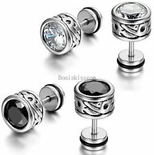 2pcs Silver Stainless Steel Round Totem Cubic Zirconia Stud Mens Ladies Earrings