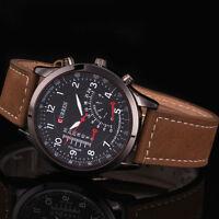 Luxury Men's Leather Strap Black Sport Military Army Quartz Wrist Watch