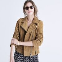 Madewell Women's Sz XL 100% Suede Leather Motorcycle Jacket in Tan 70's Retro