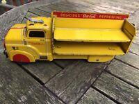 VINTAGE MARX TOYS COCA-COLA DELIVERY TRUCK Pressed Steel -- CIRCA 1950'S