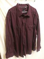 JF J. Ferrar Dark Burgundy Button Front Crisp Cotton L/S Roll Tab Shirt 4XL