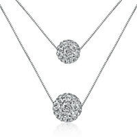 Women's 925 Sterling Silver Zircon Balls Beads Pendant Two Chain Necklace